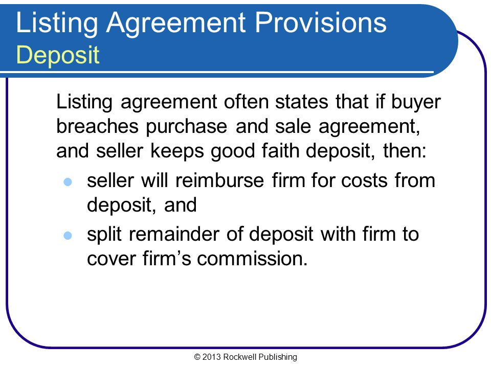Listing Agreement Provisions Deposit