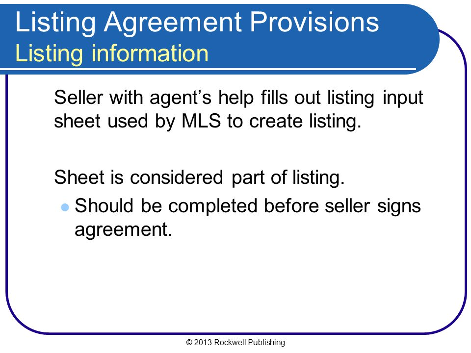 Listing Agreement Provisions Listing information