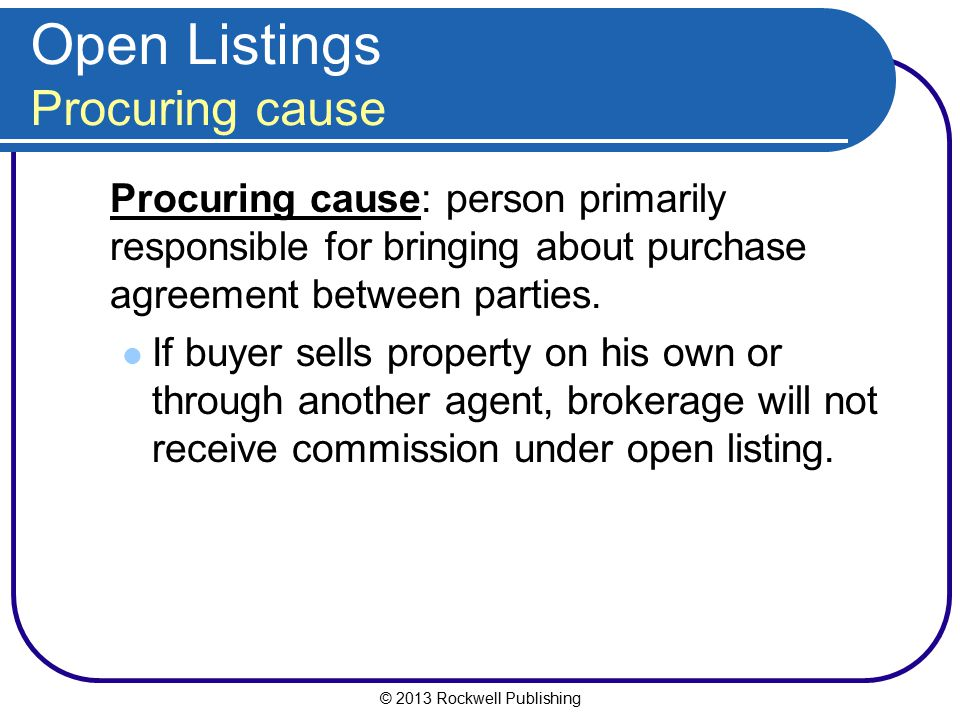 Open Listings Procuring cause