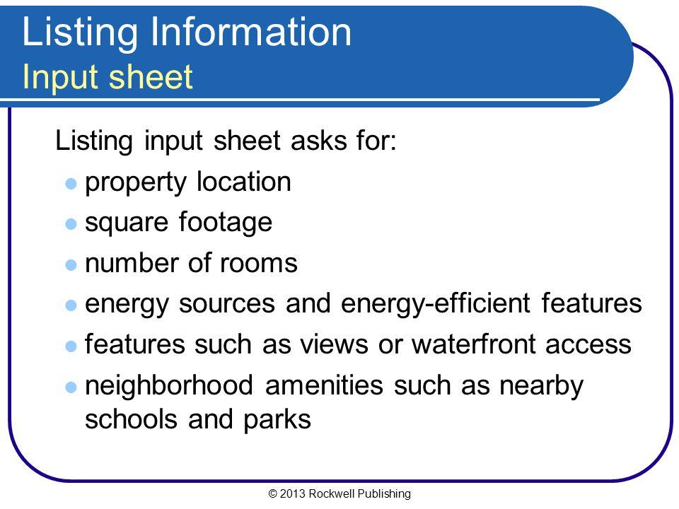Listing Information Input sheet