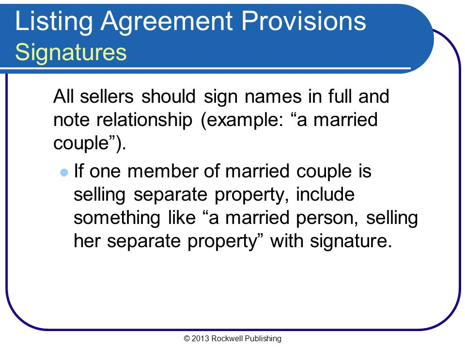 Listing Agreement Provisions Signatures