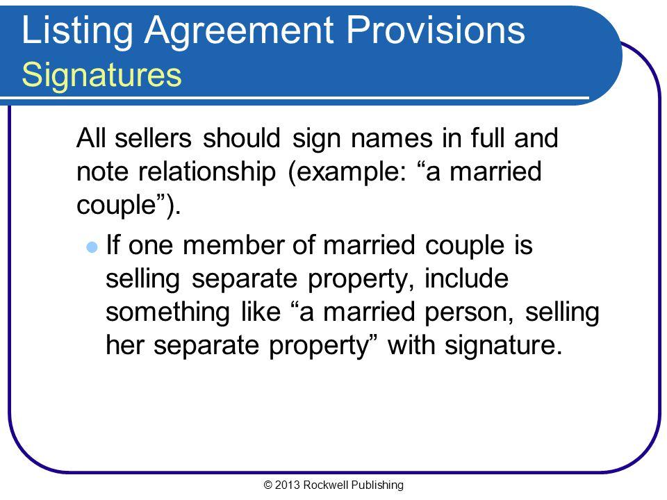 Listing Agreement Provisions Signatures