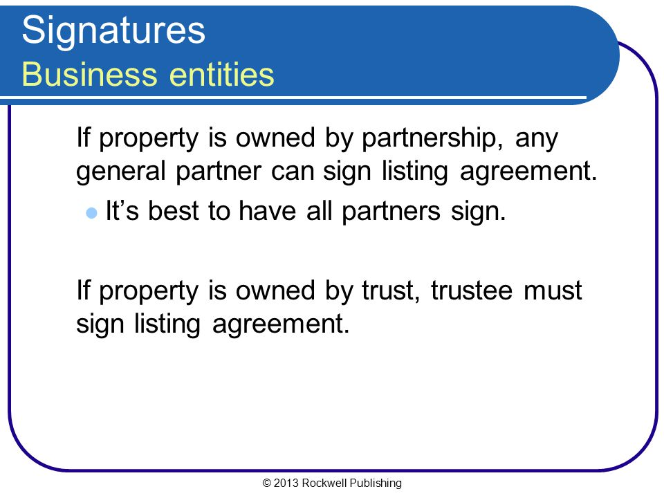 Signatures Business entities