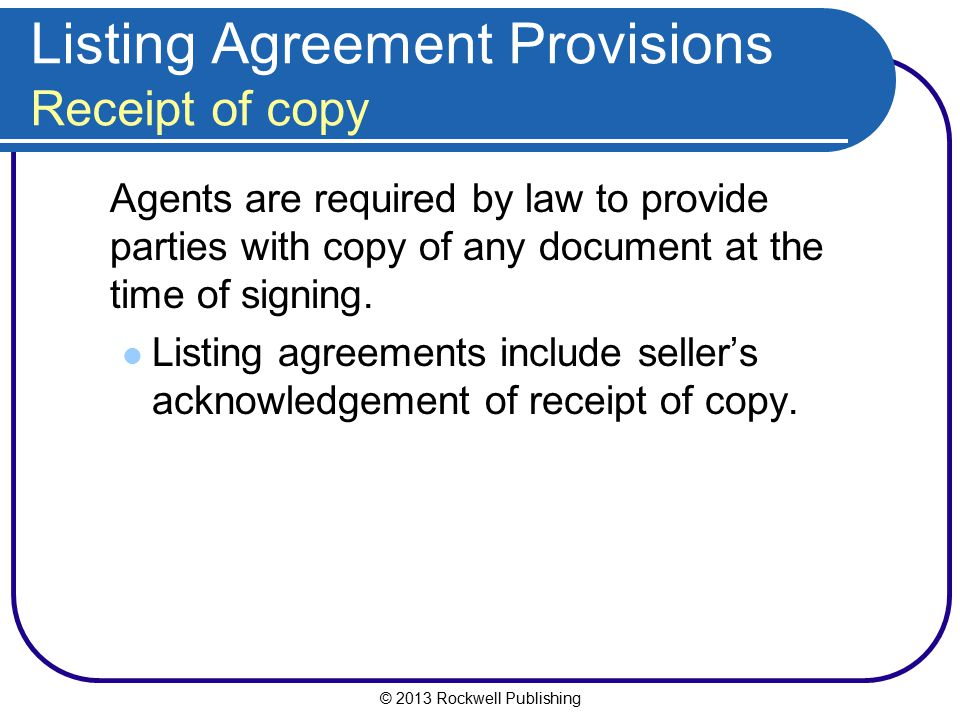 Listing Agreement Provisions Receipt of copy
