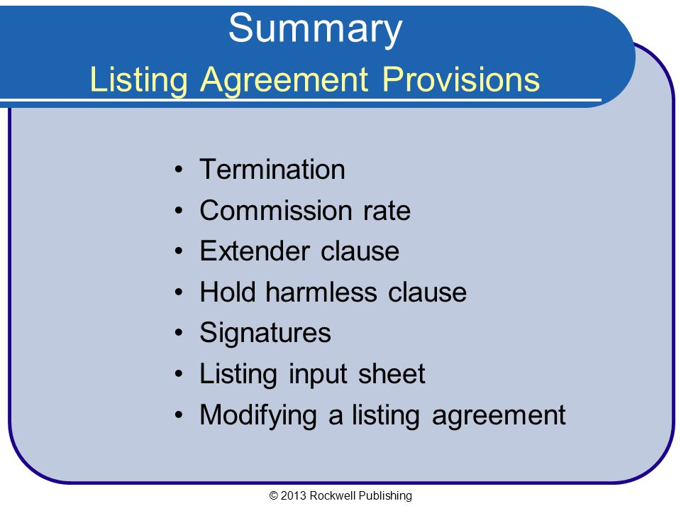 Summary Listing Agreement Provisions
