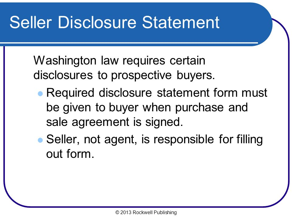 Seller Disclosure Statement
