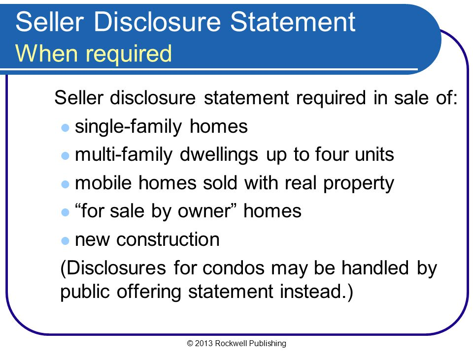 Seller Disclosure Statement When required