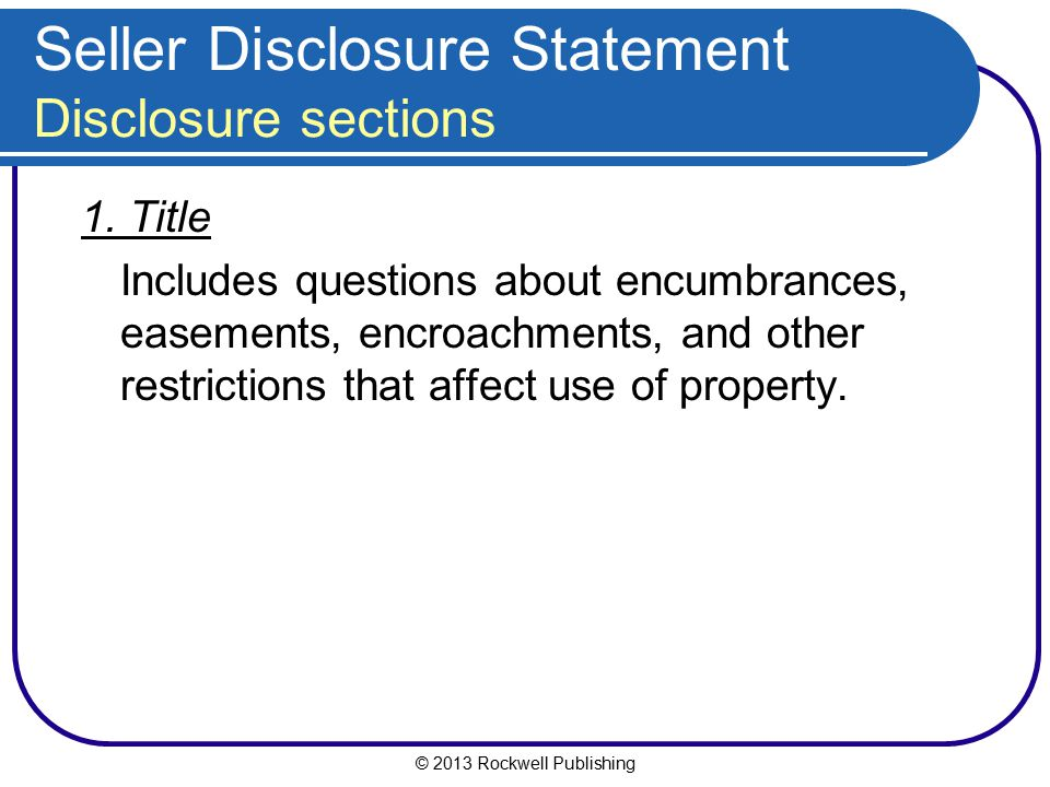 Seller Disclosure Statement Disclosure sections