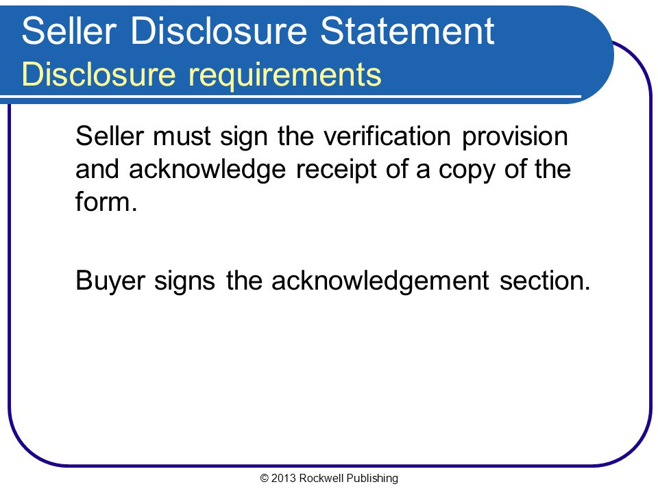 Seller Disclosure Statement Disclosure requirements