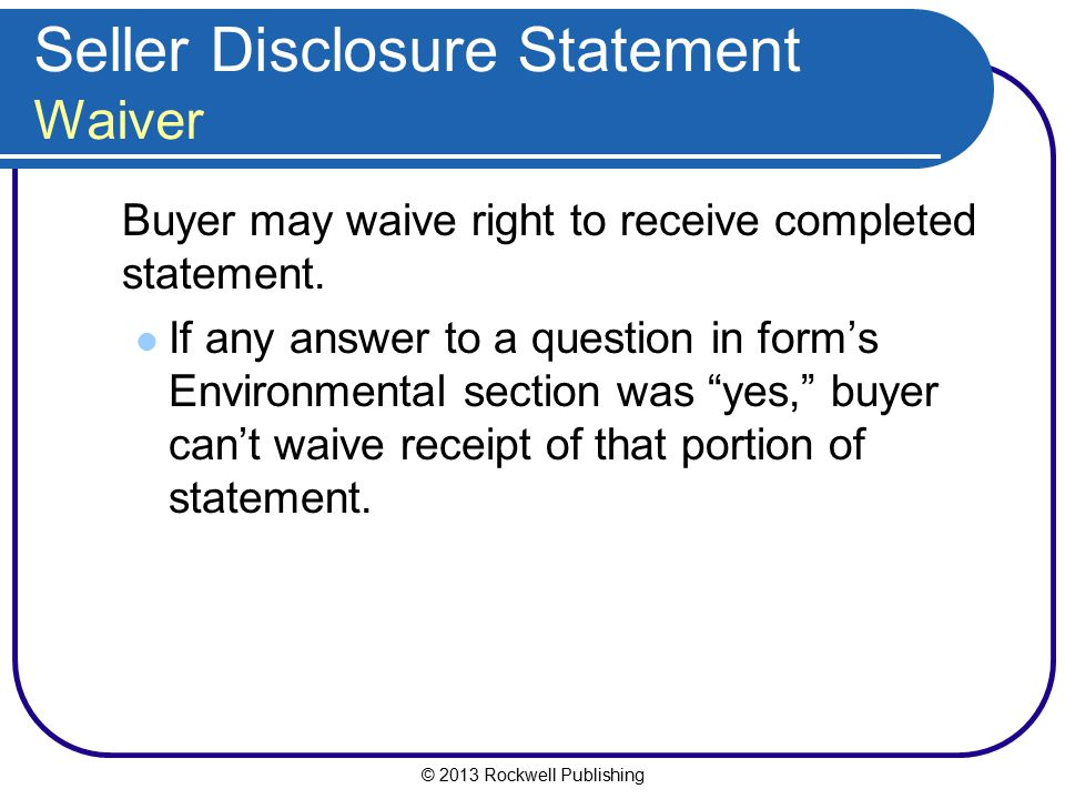 Seller Disclosure Statement Waiver