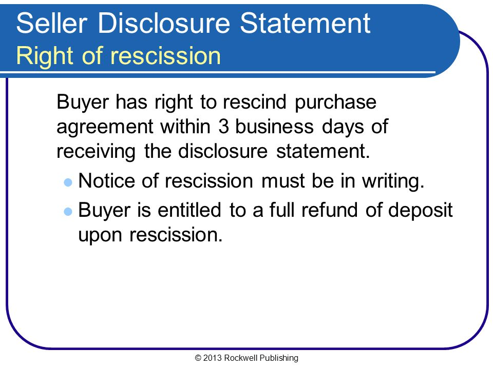 Seller Disclosure Statement Right of rescission
