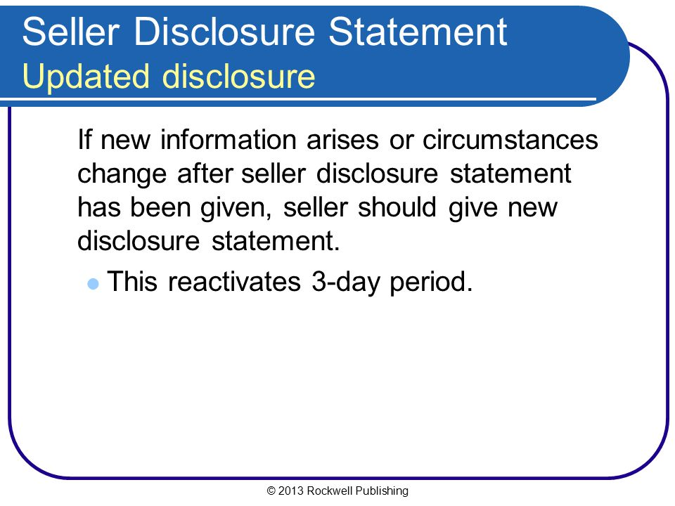 Seller Disclosure Statement Updated disclosure