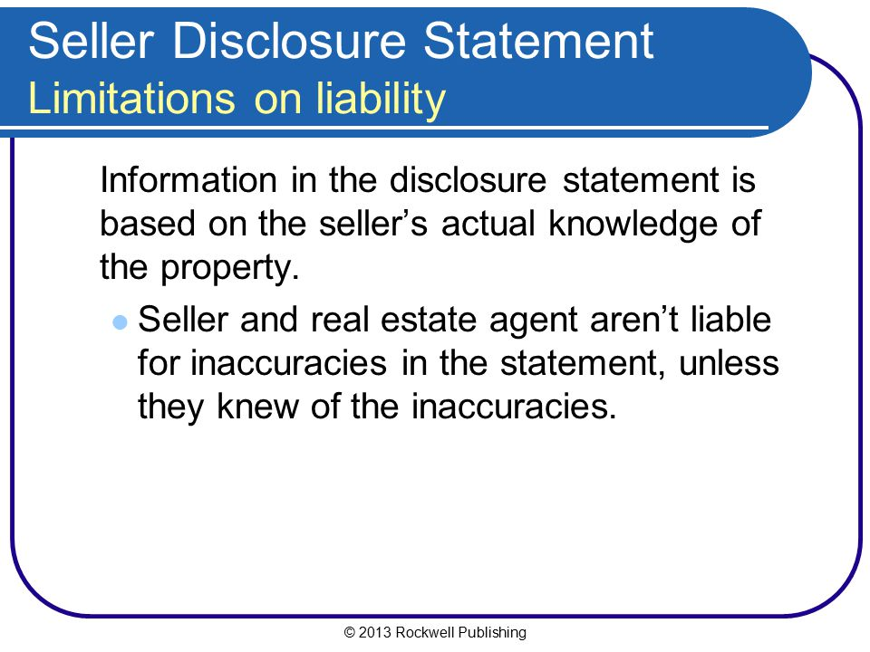 Seller Disclosure Statement Limitations on liability