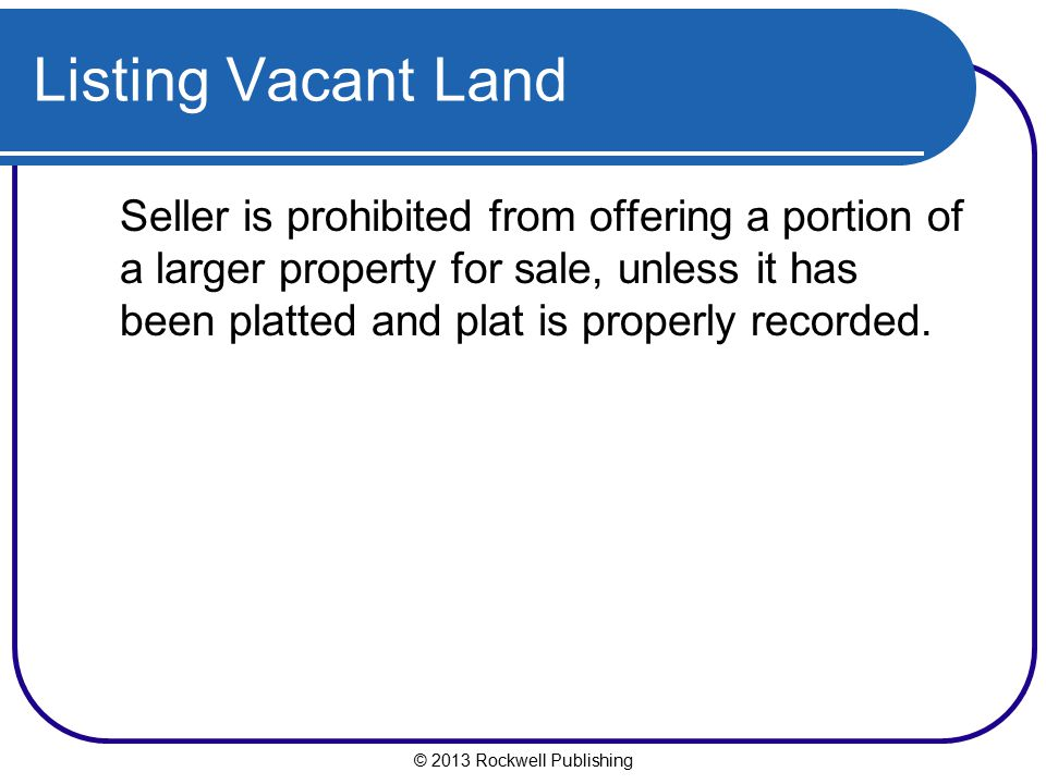 Listing Vacant Land
