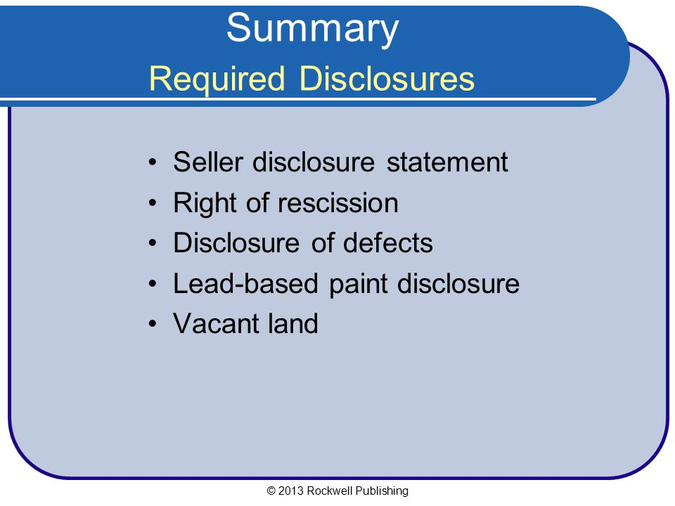 Summary Required Disclosures
