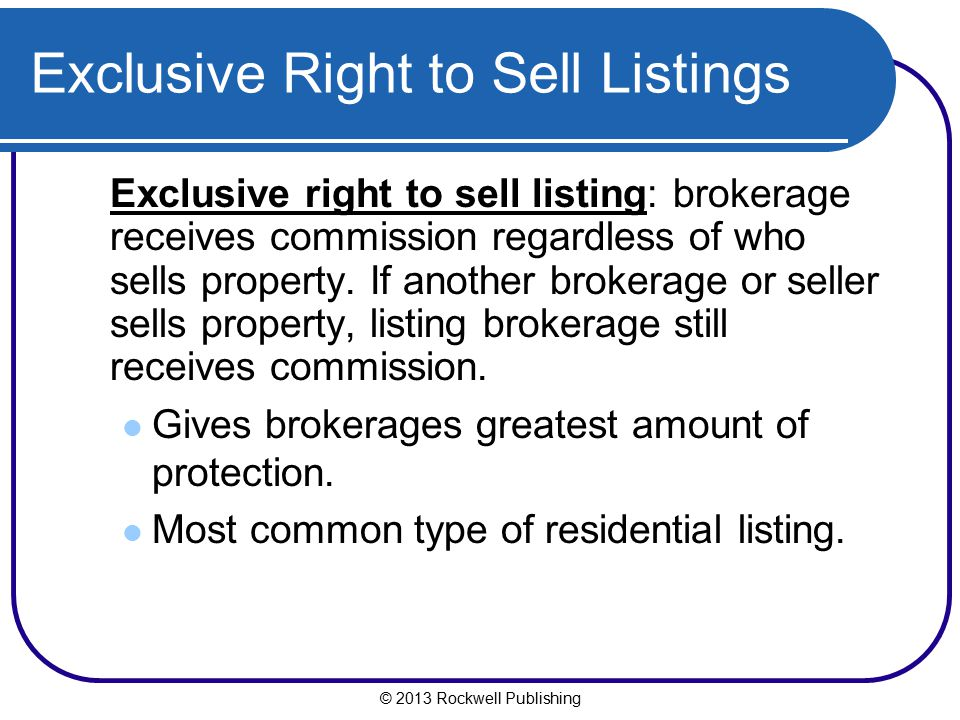 Exclusive Right to Sell Listings
