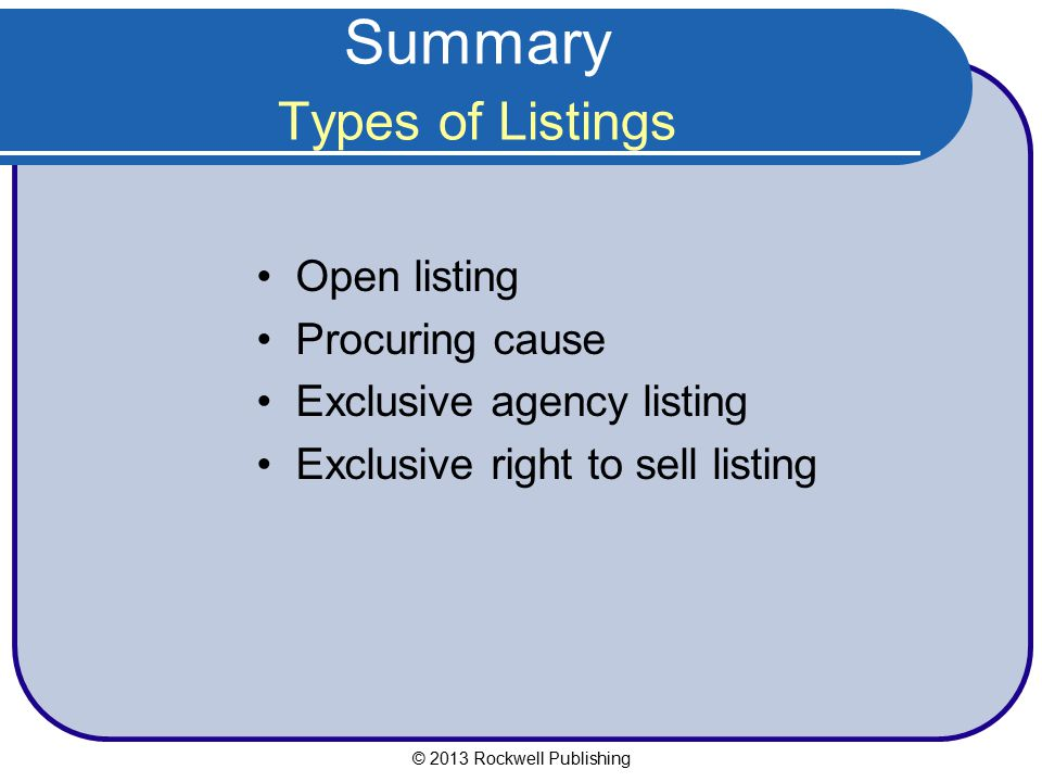 Summary Types of Listings