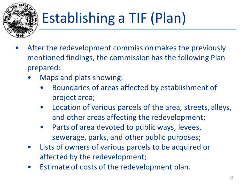 Establishing a TIF (Plan)