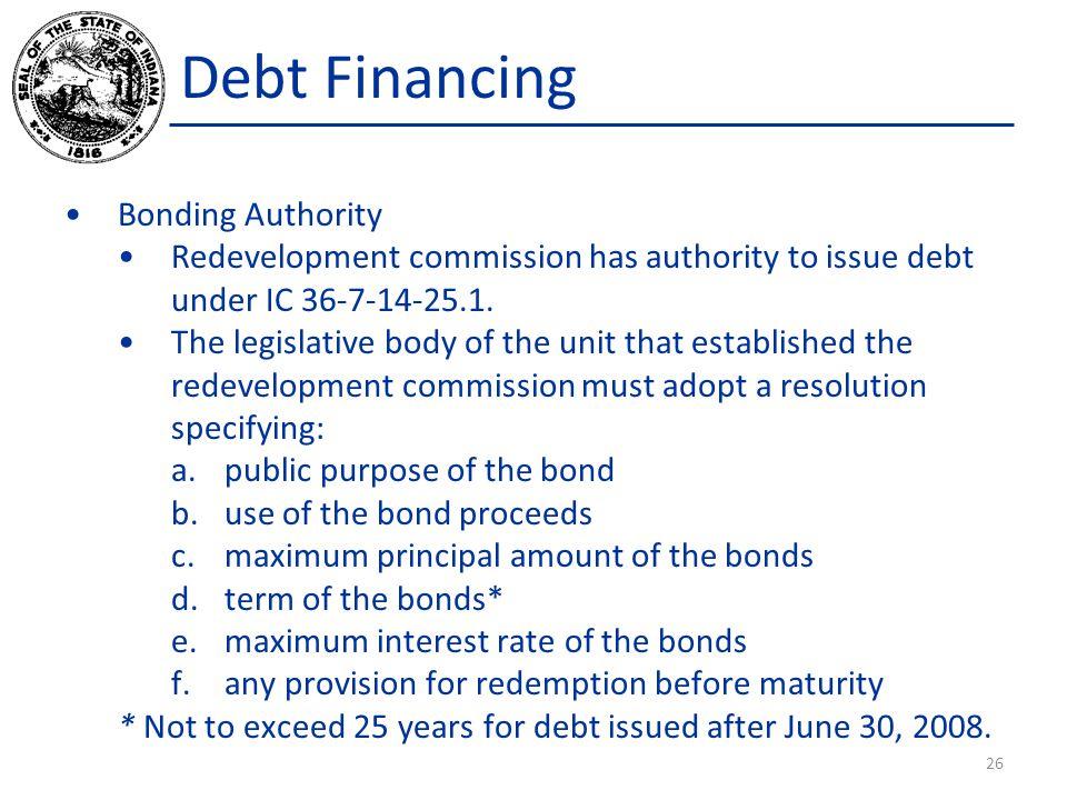 Debt Financing Bonding Authority