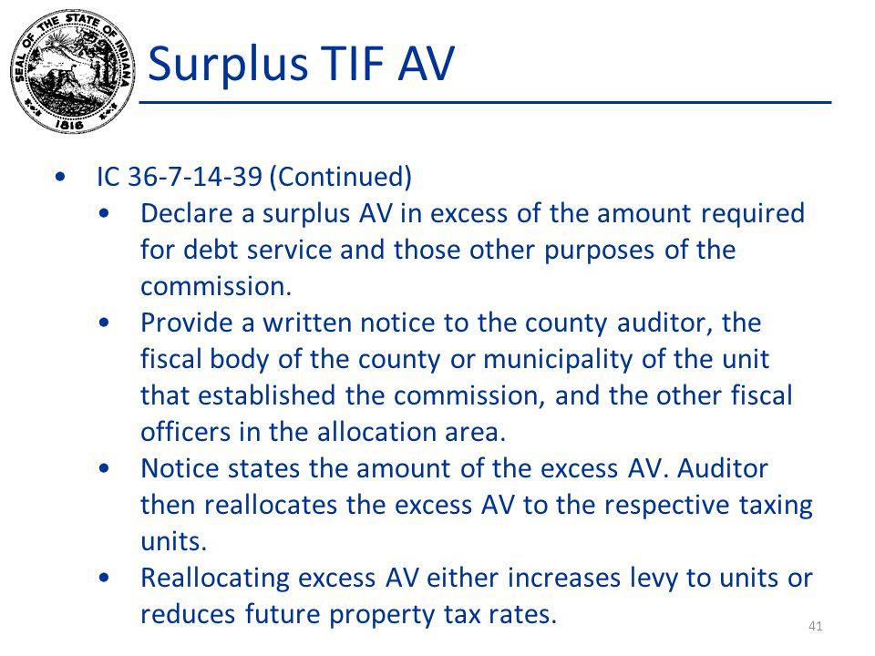 Surplus TIF AV IC 36-7-14-39 (Continued)