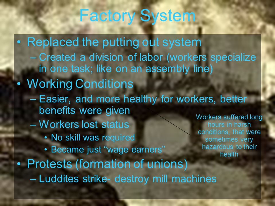 Factory System Replaced the putting out system Working Conditions