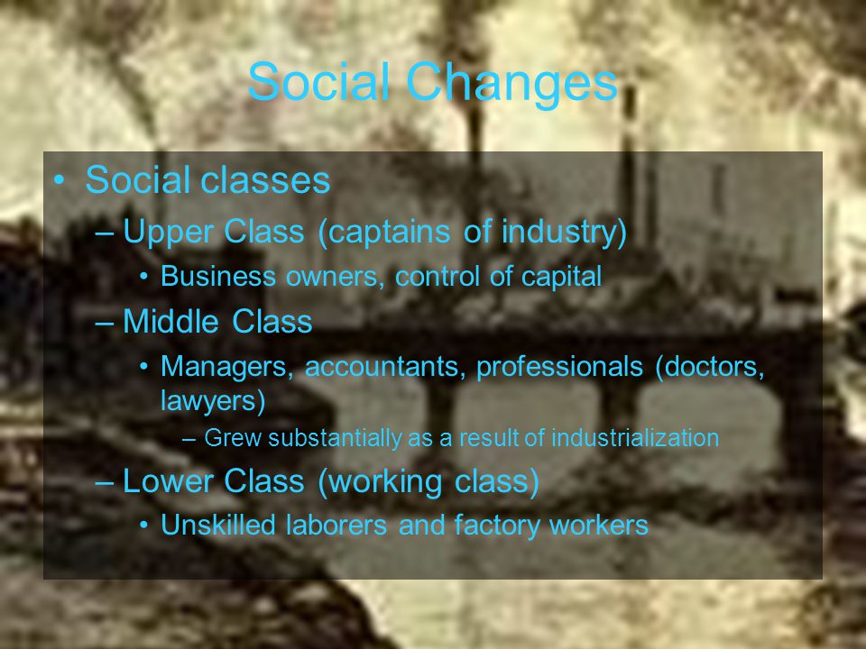 Social Changes Social classes Upper Class (captains of industry)