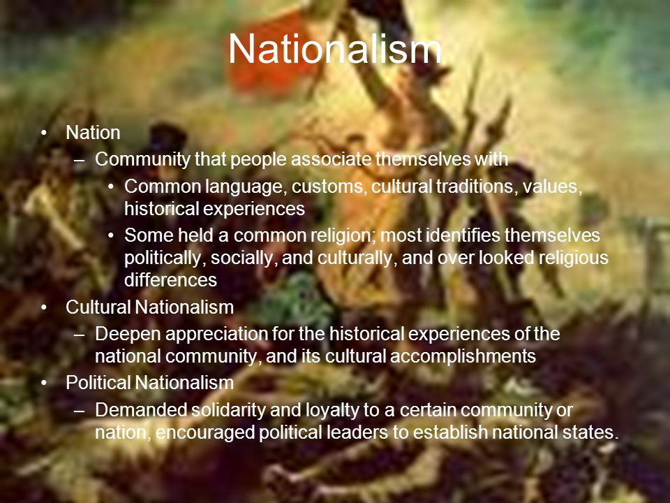 Nationalism Nation Community that people associate themselves with