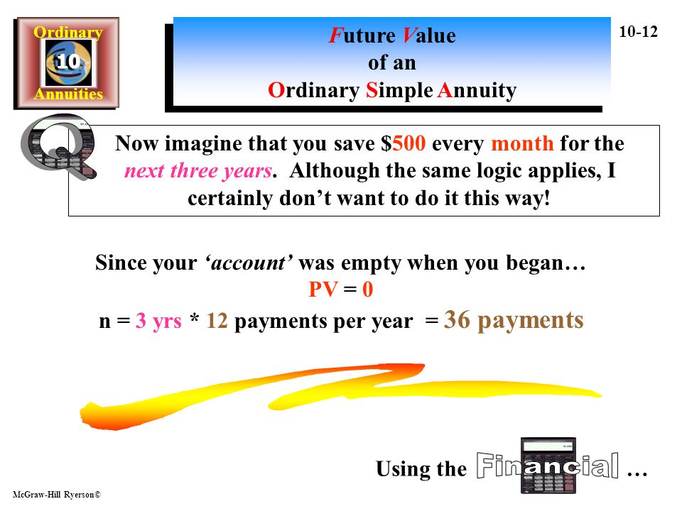 Q Financial Future Value of an Ordinary Simple Annuity