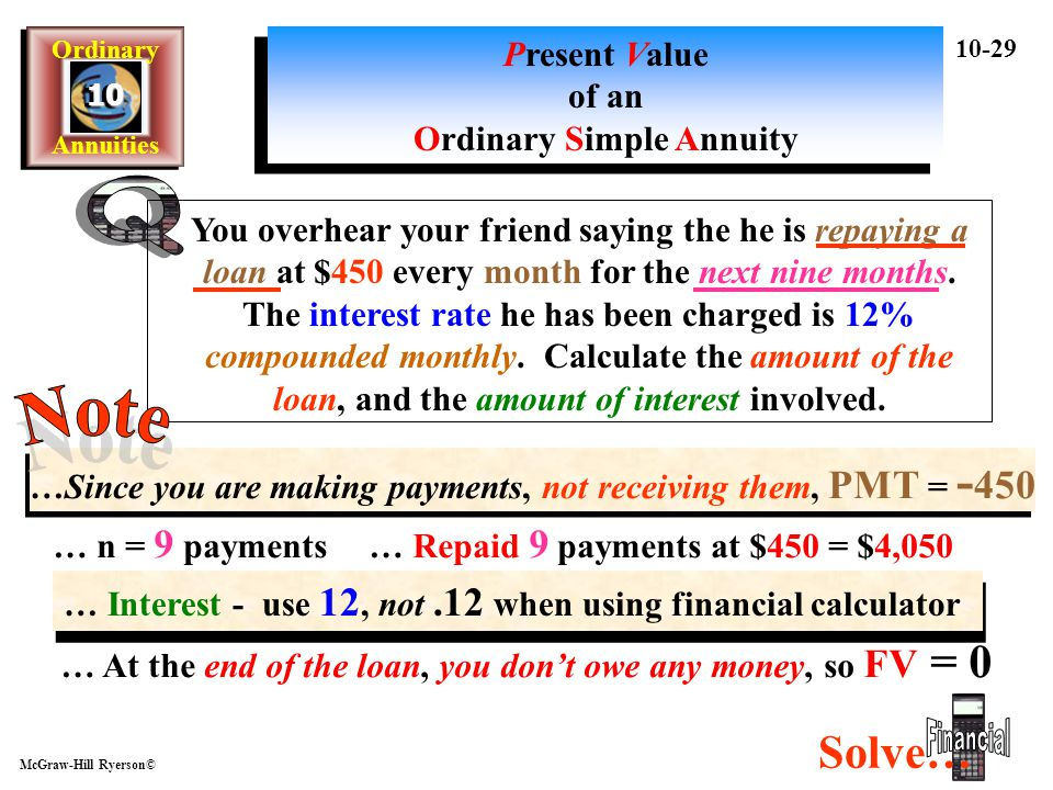 Q Note Financial Solve… Present Value of an Ordinary Simple Annuity