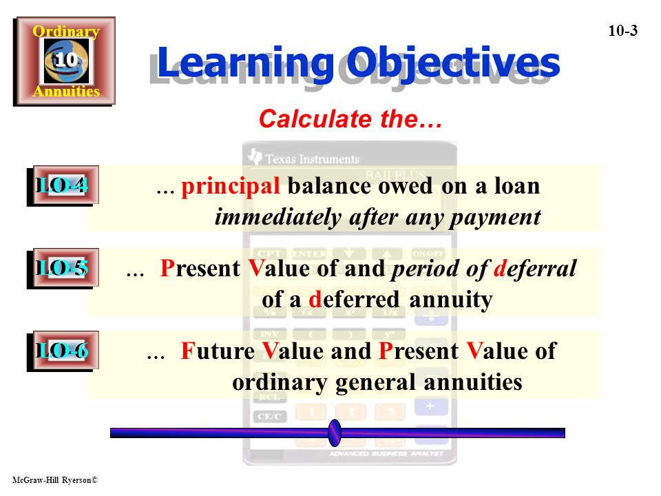 Learning Objectives Calculate the… LO-4 LO-5 LO-6