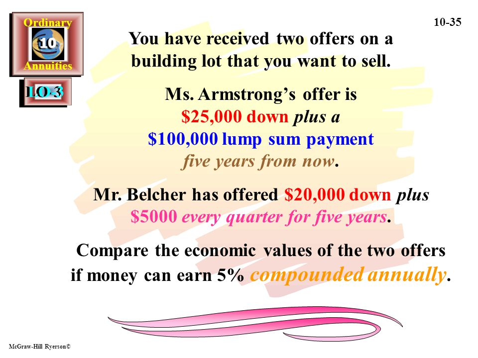 You have received two offers on a building lot that you want to sell.