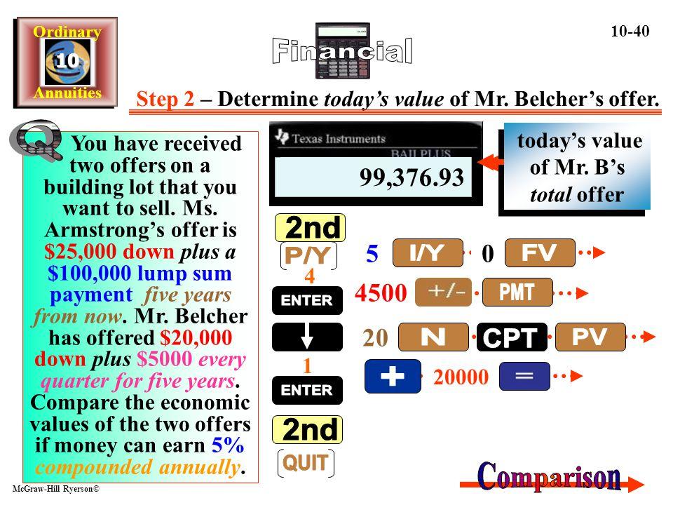 Step 2 – Determine today's value of Mr. Belcher's offer.