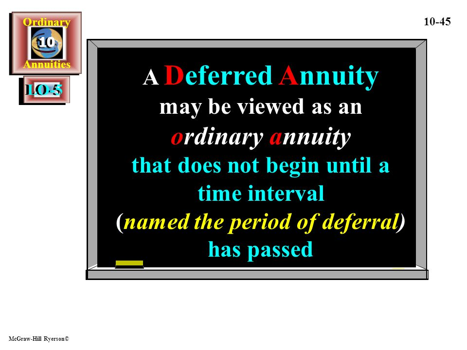 A Deferred Annuity may be viewed as an ordinary annuity that does not begin until a time interval (named the period of deferral) has passed