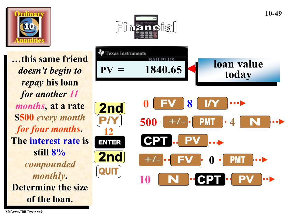 Financial FV I/Y 2nd P/Y QUIT ENTER PMT N CPT PV FV PMT N CPT PV