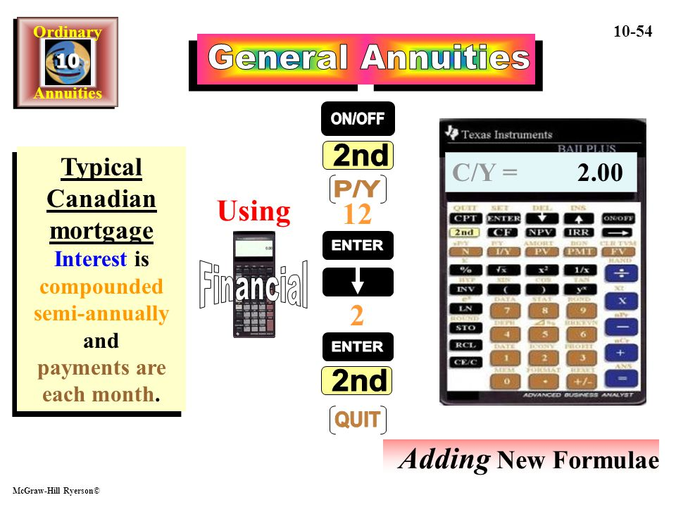 General Annuities ON/OFF 2nd P/Y ENTER Financial ENTER 2nd QUIT Using