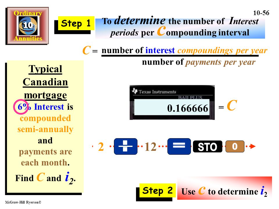 . = STO C = 2 12 Typical Canadian mortgage 0.166666 Step 1