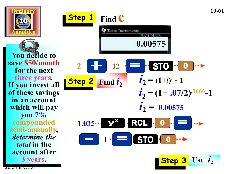 Q . = STO i2 = (1+i)c - 1 i2 = i2 = = y x RCL - = STO 1.00575 0.00575