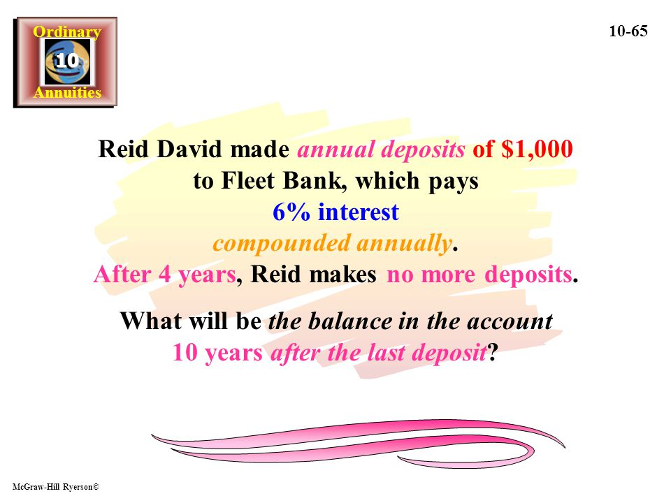 Reid David made annual deposits of $1,000 to Fleet Bank, which pays 6% interest compounded annually. After 4 years, Reid makes no more deposits.