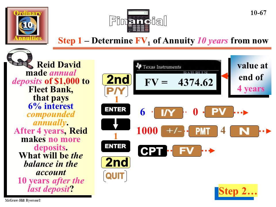 Step 1 – Determine FV1 of Annuity 10 years from now