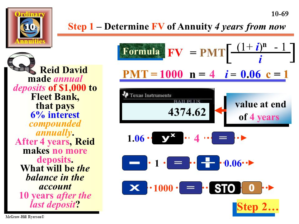 Step 1 – Determine FV of Annuity 4 years from now