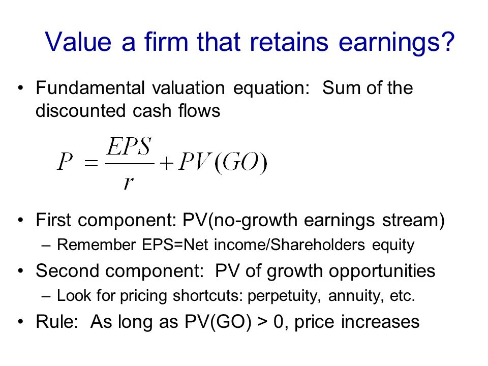 Value a firm that retains earnings