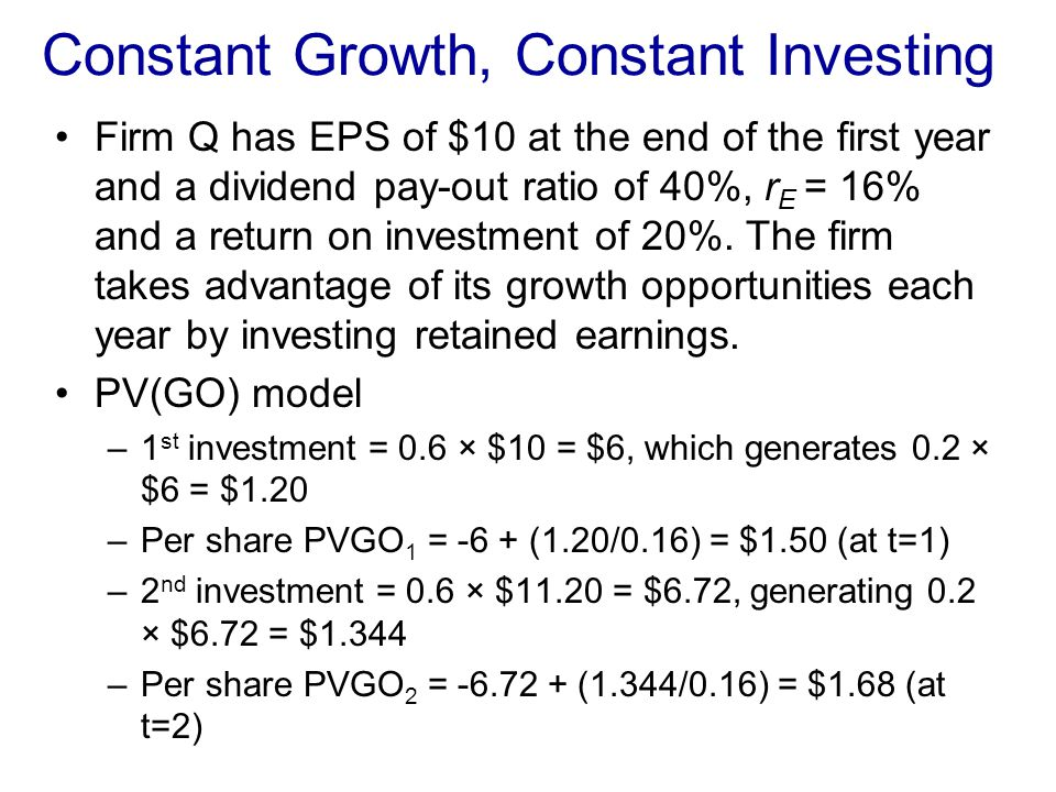 Constant Growth, Constant Investing