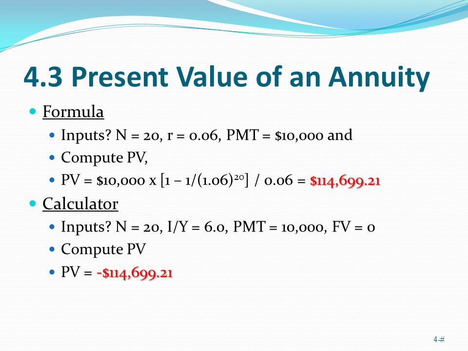 4.3 Present Value of an Annuity