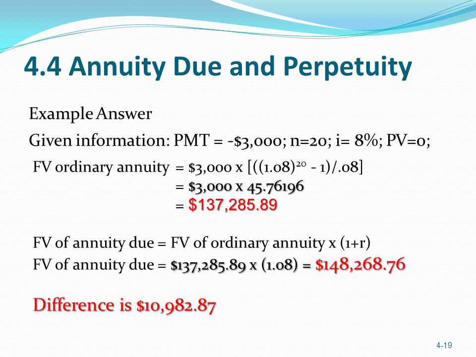 4.4 Annuity Due and Perpetuity