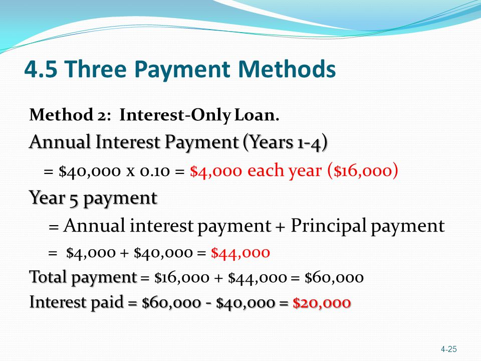 4.5 Three Payment Methods Annual Interest Payment (Years 1-4)