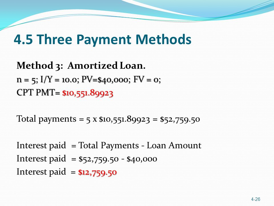 4.5 Three Payment Methods Method 3: Amortized Loan.