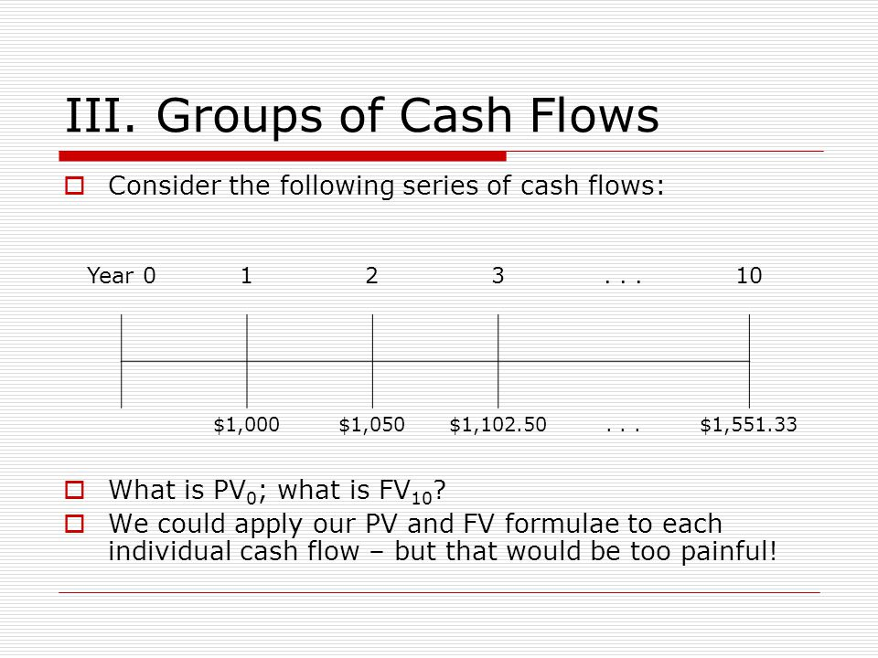 III. Groups of Cash Flows