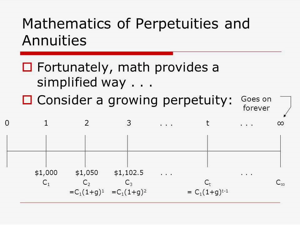 Mathematics of Perpetuities and Annuities