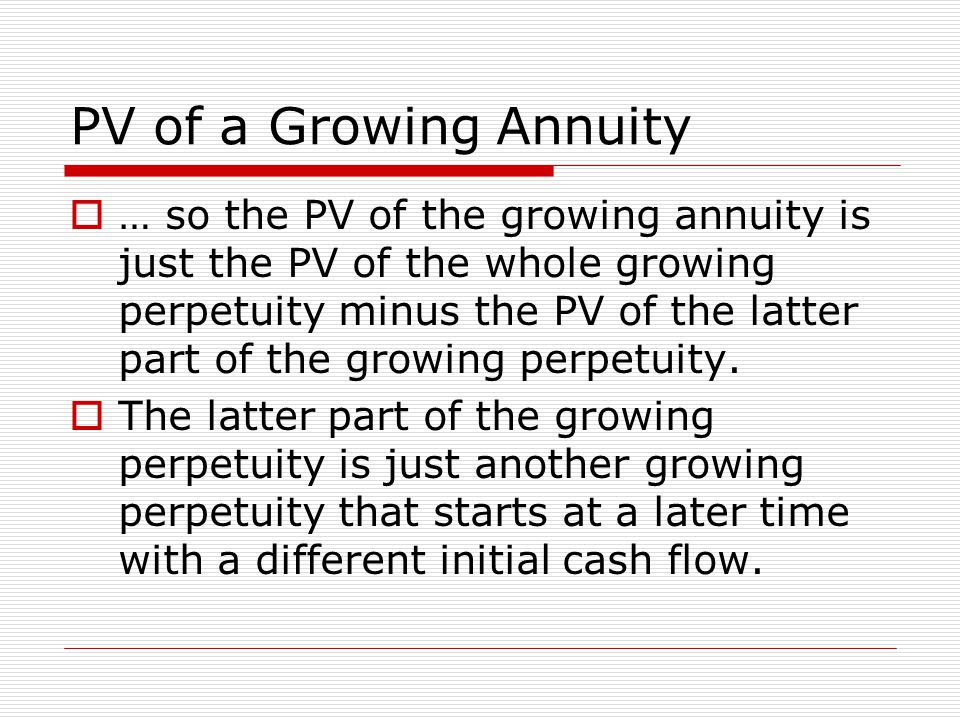 PV of a Growing Annuity