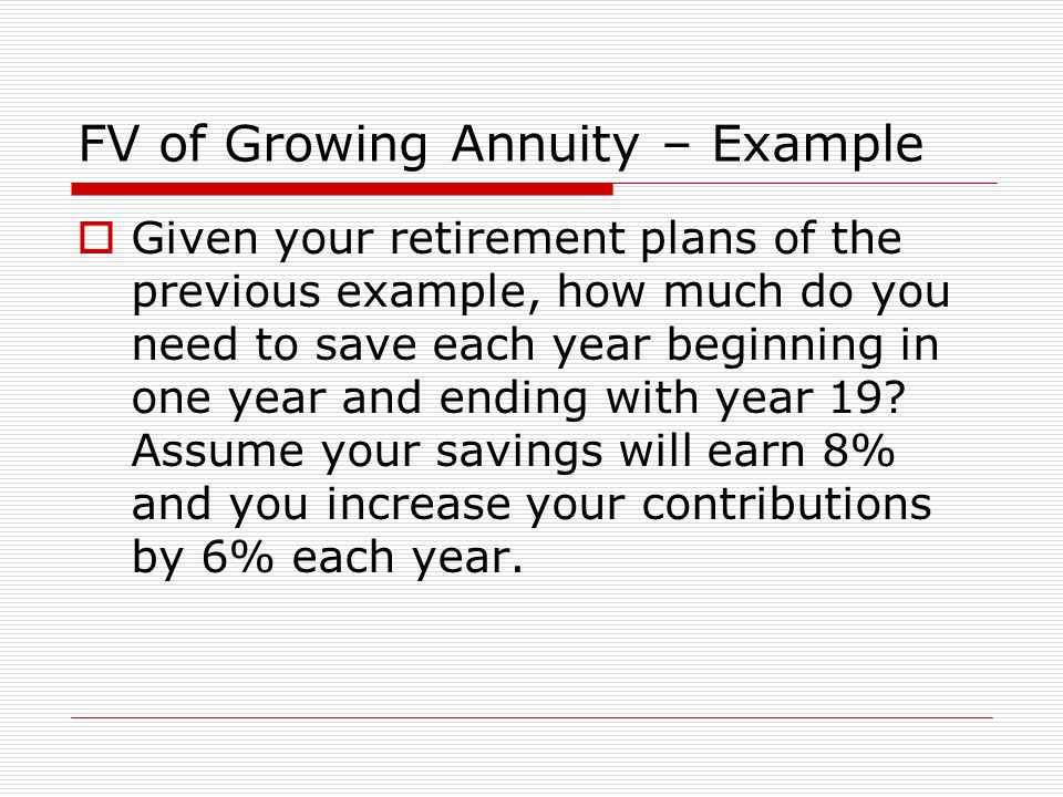 FV of Growing Annuity – Example